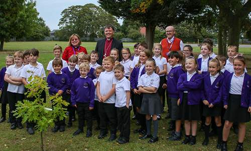Bishop Graham with the students of Moorlands Primary Academy.