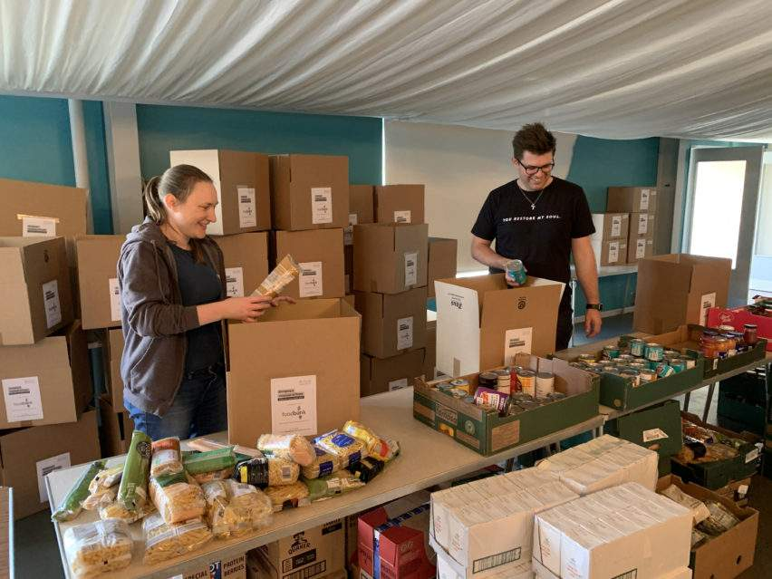 Filling the Gap - packing food parcels